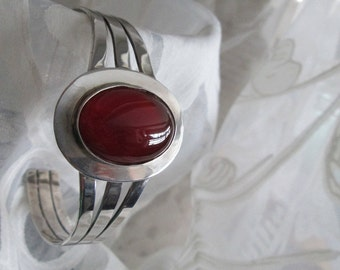 Carnelian and Sterling Silver Bangle