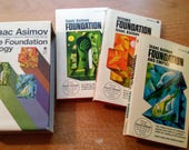 """Vintage 60's Sci-Fi Paperback Box Set, """"The Foundation Trilogy"""" by Isaac Asimov."""