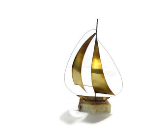 Vintage Brass Sailboat * Nautical Beach Decor * Boat Sculpture