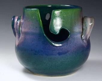 Medium Yarn Bowl / Knitting Bowl - IN STOCK - Ready to Ship - Purple,blue and green Glaze