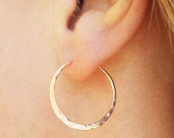 Minimalist Hoop Jewelry,  14K rose gold filled medium wire hoops, Rose hammered hoops