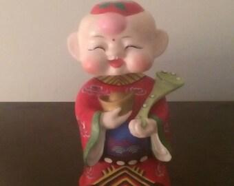 Vintage Asian Bobble Head Bisque Figurine