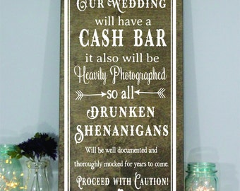 cash bar sign etsy