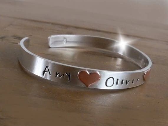 Copper and Silver Bangle with Childrens Names, Personalised Bangle with Names, 6mm Silver Bangle, Childrens Names Bangle, 7th Anniversary