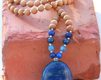 Lapis Lazuli Sandalwood Mala  - Meditation Yoga Beads BOHO jewelry/ necklace / mala beads