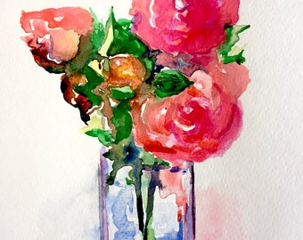 Mothers Day Gift Roses Watercolor - Flowers Still Life Painting - Floral Illustration - Lana Moes art