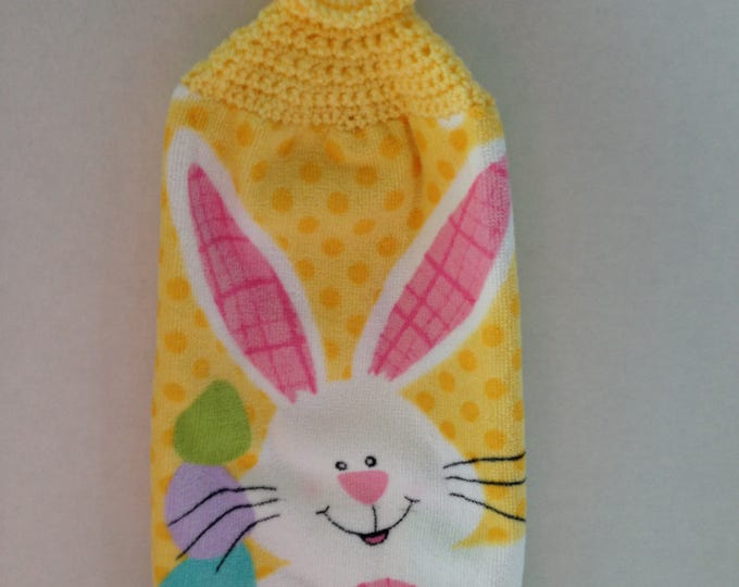 Easter Bunny Kitchen Towel - Crochet Top - Easter Bunny - Bunny Rabbit Towel - Hanging Towel - Handmade Crochet - Ready to Ship