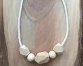 Chunky Wooden Bead & Rope Necklace