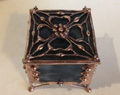 Gray, Stained Glass, Ring Box, with Handmade Filigree / Antique Copper Finish / Trinket Box / Glass Jewelry Box / Antique Style Box /