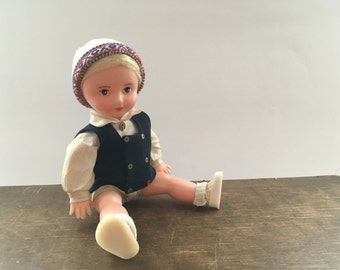 Soviet vintage plastic doll in national costume USSR era plastic doll Russian toy Collectible folk doll