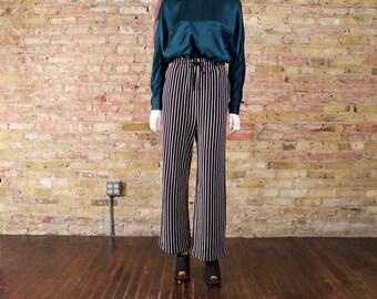 black n white 90s knit striped pants / jogger pants / loose fit pants / 90s sporty / vertical stripe pant / 90s sweatpants / slouchy pants