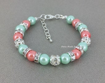 Coral and Mint Bracelet, Coral and Mint, Bridesmaids Bracelet, Bridesmaid Gift on a Budget, Bridesmaids Jewelry, Mint and Coral Wedding