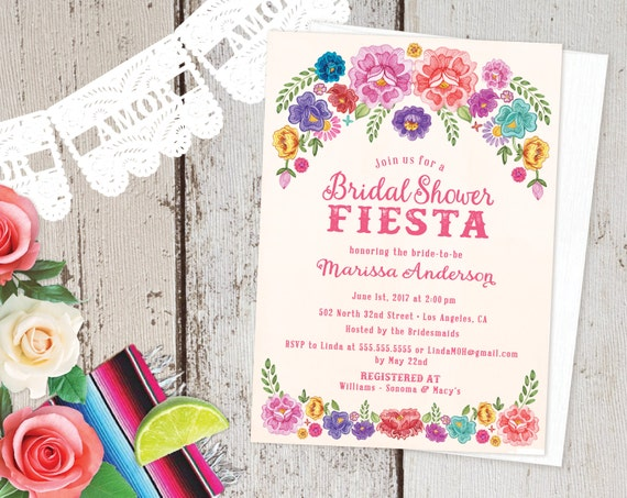 Mexican Fiesta Theme Floral Bridal Shower Invitations