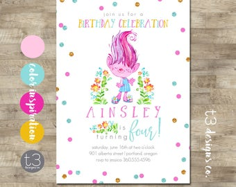 Girl Trolls Birthday Invitation, Trolls Birthday Invitation, Trolls Birthday Party, Trolls Birthday Invite, Whimsical Trolls Birthday