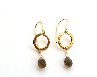 Whiskey Quartz dangle earrings Gypsy - Hammered Circle - 14k Gold Filled Earrings - Birthstone Earrings - Everyday Wear - Gift for Her