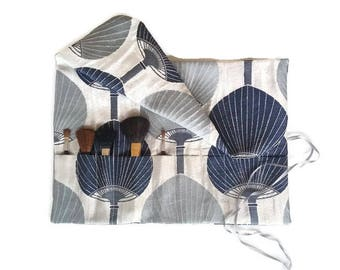 Makeup Brush Roll Navy and Silver Oriental Fans Cosmetic Brush Roll up