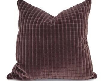 Aubergine Cut Velvet Throw Pillow Cover, 20x20, 22x22, 24x24, Lumbar Pillow Cover