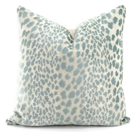Pale Aqua Throw Pillow : Pale Aqua Blue & Off White Velvet Cheetah Print Throw Pillow