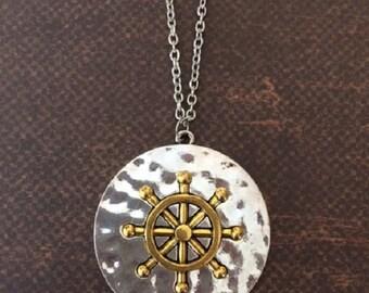 Nautical - Nautical Jewelry - Nautical Gifts - Nautical Pendant - Ship Necklace - Cruise Gifts - Ship Wheel - Ship Wheel Necklace - Necklace