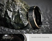 8MM Mens Satin Black Tungsten Ring & 18K Rose Gold Stepped Edges Custom Engraved Inside