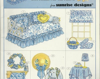 Vintage Pattern Booklet - DAYBED ENSEMBLE -Country French Decor - Full-Size Patterns - Day Bed Comforter, Pillow Shams, Pillows-Bunny, Bow