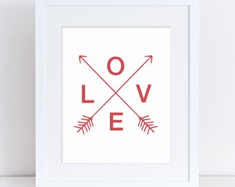Love Wedding Poster, Wedding Arrows, Red Love Arrows, Red Love Poster, Valentine Printable, Love Printable, Red Printable Arrow, Nursery Art