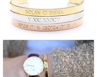 GPS COORDINATES bracelet - gold coordinate - silver coordinate - custom coordinates - gps coordinates - personalized coordinate cuff