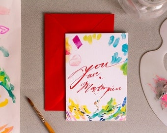 You are a Masterpiece - A6 card - Encouragement / Motivation / Self Love - Framed print - Lettering Typography Illustration - For creatives