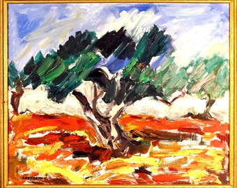 Rare ca.1996 Huge Oldest Olive Tree Expressionist Painting Oil/Canvas/Frame/Signed