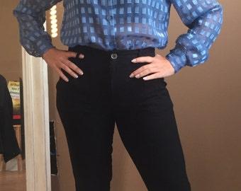 1980's Sheer Light Blue Blouse