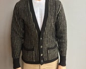 1950s Vintage Towne and King Ltd. Striped Grey and Black 4 button Cardigan Sweater