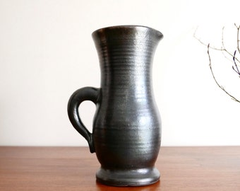 French huge ceramic pitcher by Marc Drillon, Saint Amand en Puisaye, 1950s black ceramic pottery