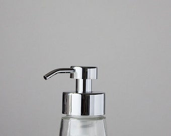 Small Glass Foaming Soap Dispenser with Chrome Metal Pump