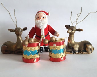 5 Vintage Christmas Decorations: Flocked Santa, Plastic Gold Deer, Blue and Red Paper Drums - 1950s Christmas Decorations - Fair Condition