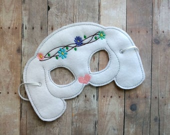 Bunny Felt Mask in 2 Sizes, Elastic Back, White Acrylic Felt with Embroidered Flower Crown, Made in USA, Costume, Dress Up Easter Mask