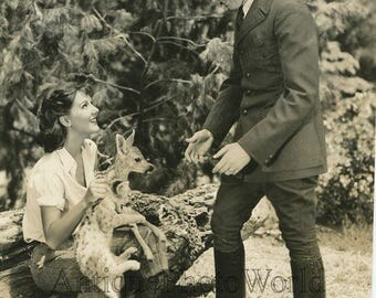 Actress w lion cub and fawn antique animal photo