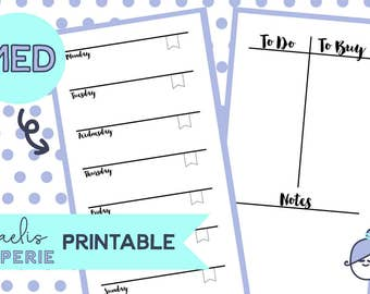Printable - PERSONAL WEEKLY INSERTS - Week on One Page - Planner inserts for Medium/Personal Planners Filofax or personal Kikki K