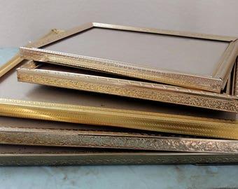 Elegant set of 5 Vintage Metal Picture Frames-Vintage Picture Frames-Gold Frames-8x10 5x7 Wedding Frames-Wedding Decor-Home Decor