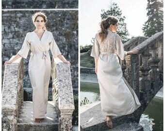 Champagne Bridal Robe / Lace Robe / Long Bridal Robe / Long Beige Robe / Lace Kimono / Ivory Satin Robe / Champagne Satin Robe