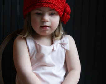 Red Hat. 1920s Style Cloche Hat for Little Girls