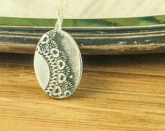 Doily Necklace Silver    Doily Pendant Silver    Doily Jewel Silver    Lace Necklace Silver    Lace Pendant Silver    Doily Oval Print   
