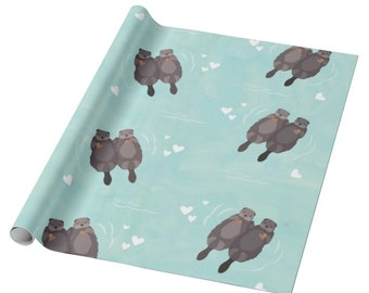 Otter Wrapping Paper - Otters Holding Hands Watercolor Gift Wrap Paper - Otter holiday gift wrap