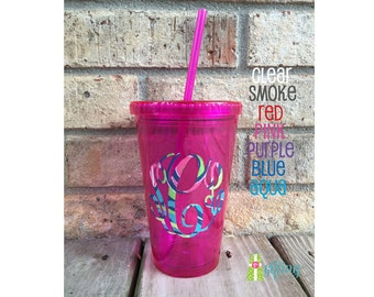 Monogrammed Lilly Pulitzer Tumbler, Personalized 16 oz Tumbler Cup with Straw, Monogram Tumbler Personalized with Lilly Pulitzer Vinyl
