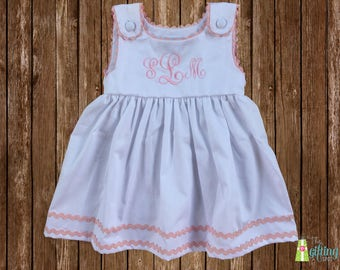 Monogrammed White Dress, Personalized Girls Sleeveless Pique Dress, Monogrammed Infant Toddler Baby Dress, Dress with Ric Rac Trim