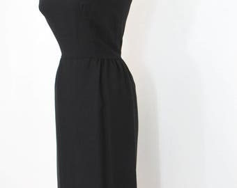 The Perfect 1950s - Early 1960s Little Black Wiggle Dress with Spaghetti Straps