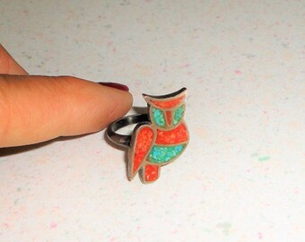 Silver Owl Ring Turquoise and Coral Inlaid Vintage Jewelry 1970 Size 6.5