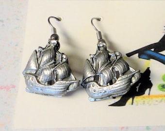 Silver Ship Boat Ear Wires Vintage Silver 6.2 Grams Mid Century