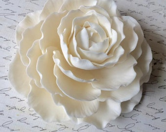 White Sugar Peony Wedding Cake Topper by Sugar on Top