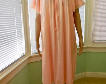 Vintage NIGHTGOWN/Mid Length Nightgown/Vintage Lingerie/Orange Lace Nightie/Short Sleeve/Summer Nightie/PHIL MAID/60s Vintage Lingerie/Large