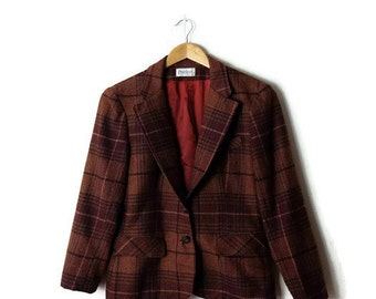 Vintage Tartan Plaid / Checked Wool Blazer Jacket from 70's*